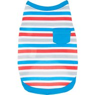 Frisco Striped Dog T-Shirt, Red White & Blue, X-Small
