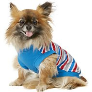 Frisco Striped Dog T-Shirt, Red White & Blue, Small