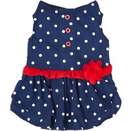 Frisco Polka Dot Flower Dress, Navy, X-Small