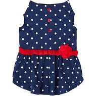 Frisco Polka Dot Flower Dress, Navy, Small