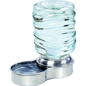 Etna Stainless Steel Dog & Cat Water Fountain Bowl, 3-L; Keep your pet happy and hydrated even when you can't be there to fill his bowl with the Etna Stainless Steel Dog & Cat Water Fountain Bowl. This easy-to-use pet drinking system is a simple way to make sure that your furry friend always has access to fresh drinking water, thanks to the constant flow powered by gravity instead of electricity, and the stainless steel bowl that helps to prevent the buildup of bacteria. The refillable bottle comes complete with a large-mouth opening that makes refreshing your dog or cat's water supply quicker and cleaner than other traditional pet bowl options, and you can even safely add it to the dishwasher and say goodbye to the time-consuming hassle of handwashing.