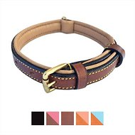 Soft Touch Collars Leather Two-Tone Padded Dog Collar, Brown, Small