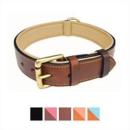 Soft Touch Collars Leather Two-Tone Padded Dog Collar, Brown, Large