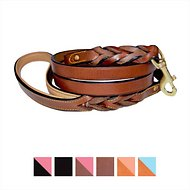 Soft Touch Collars Leather Braided Two-Tone Handle Dog Leash, 6-ft 1/2 inches, Brown