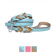 Soft Touch Collars Leather Braided Two-Tone Dog Leash, 6-ft 3/4 inches, Turquoise Beige