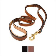 Soft Touch Collars Leather Braided Traffic Handle Dog Leash, 6-ft 3/4 inches, Brown