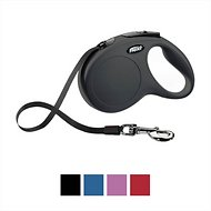 Flexi New Classic Retractable Tape Dog Leash, Black, Small, 16-ft