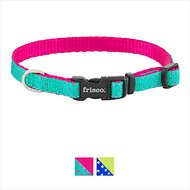 Frisco Patterned Nylon Dog Collar, Pink Polka Dot, X-Small: 8 to 12-in neck, 3/8-in wide