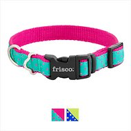 Frisco Patterned Dog Collar, Pink Polka Dot, Small