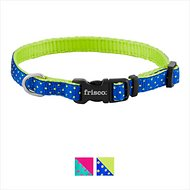 Frisco Patterned Nylon Dog Collar, Lime Polka Dot, X-Small: 8 to 12-in neck, 3/8-in wide