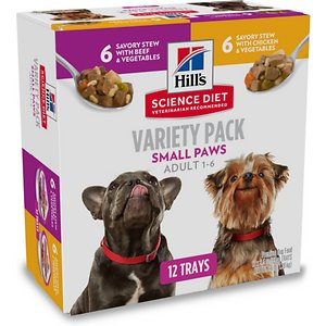Hill's Science Diet Adult Small Paws Chicken & Vegetables & Beef & Vegetables Variety Pack Wet Dog Food Trays, 3.5 oz, case of 12