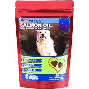 Particular Paws Salmon Oil Skin & Coat Soft Chews Dog Supplement, 65 count