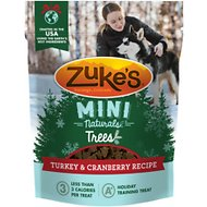 Zuke's Mini Naturals Holiday Trees Turkey & Cranberry Recipe Dog Treats, 5-oz bag