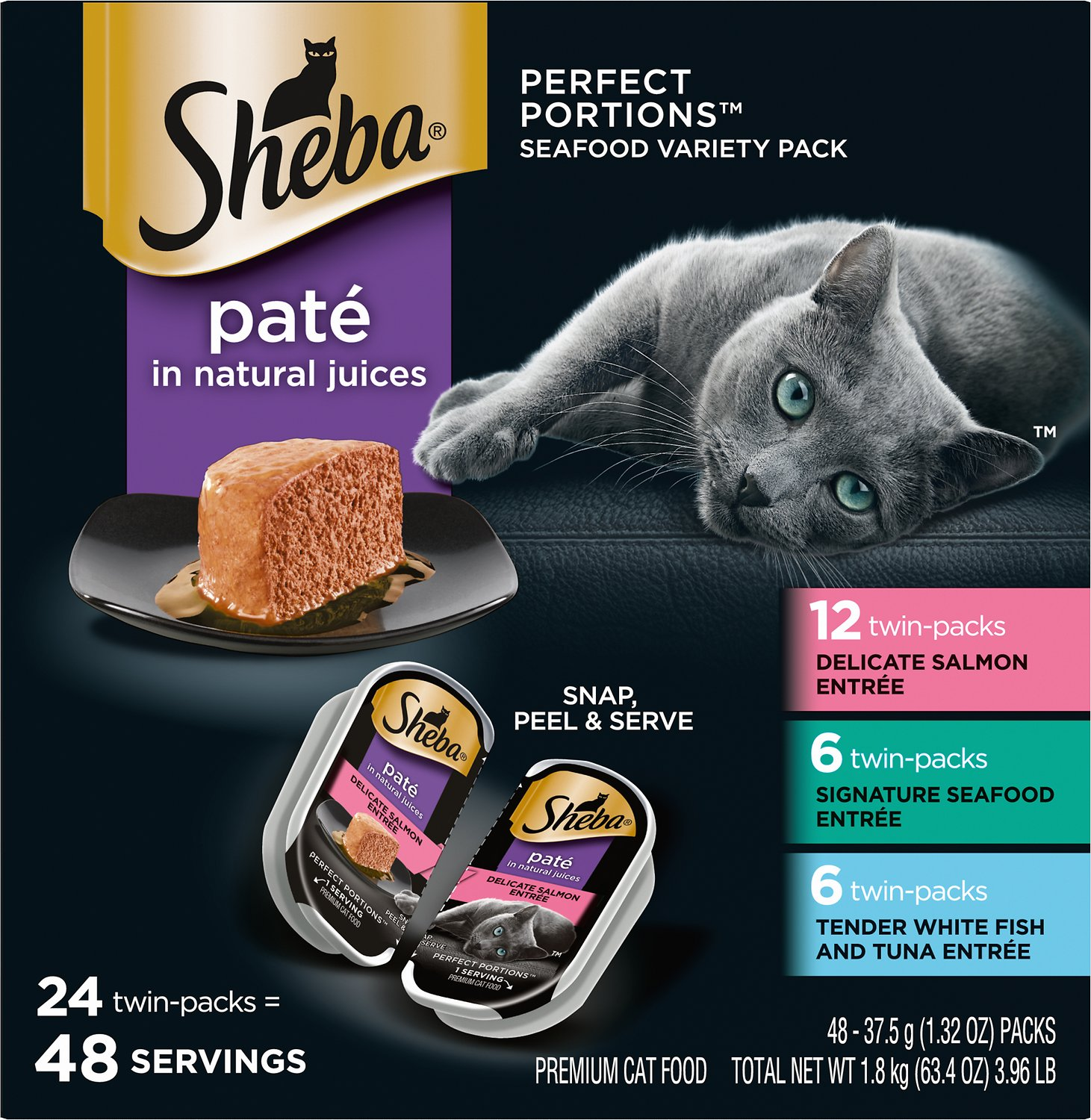 Sheba Perfect Portions Seafood Pate Variety Pack Grain
