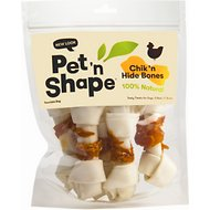 "Pet 'n Shape Chicken Hide Bones 6"" Dog Treats, 5 count"