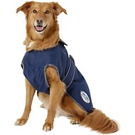 WeatherBeeta Windbreaker 420D Deluxe Dog Coat, Navy/Grey/White, 22-inch