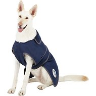 WeatherBeeta Windbreaker 420D Deluxe Dog Coat, Navy/Grey/White, 28-in