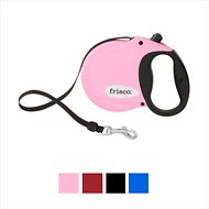 Frisco Reflective Tape Retractable Dog Leash, Pink, Small
