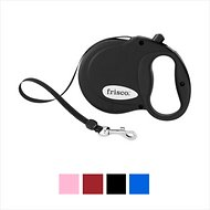 Frisco Reflective Tape Retractable Dog Leash, Black, Small