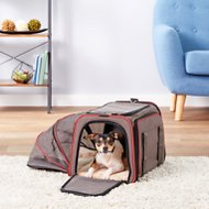 Petsfit Double Sided Expandable Dog & Cat Carrier, Gray, Large