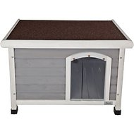 Petsfit Wooden Hinged Roof Dog House, Small, Gray
