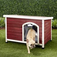 Petsfit Wooden Hinged Roof Dog House, Red, Small