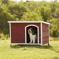 Petsfit Wooden Hinged Roof Dog House, Red, Large