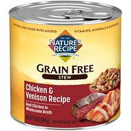 Nature's Recipe Grain-Free Chicken & Venison Stew Canned Dog Food, 10-oz, case of 12