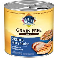 Nature's Recipe Grain-Free Chicken & Turkey Stew Canned Dog Food, 10-oz, case of 12