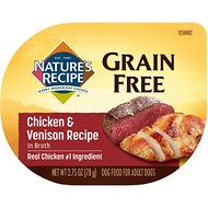 Nature's Recipe Grain-Free Chicken & Venison Recipe in Broth Wet Dog Food, 2.75-oz, case of 12