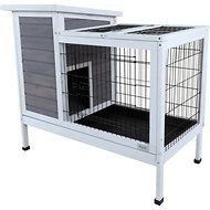 Petsfit Wooden Rabbit Hutch, Gray