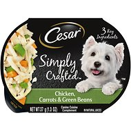 Cesar Simply Crafted Chicken, Carrots & Green Beans Limited-Ingredient Wet Dog Food Topper, 1.3-oz, case of 10