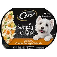 Cesar Simply Crafted Chicken, Carrots, Barley & Spinach Limited-Ingredient Wet Dog Food Topper, 1.3-oz, case of 10
