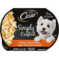 Cesar Simply Crafted Chicken, Sweet Potato, Apple, Barley & Spinach Limited-Ingredient Wet Dog Food Topper, 1.3-oz, case of 10