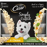 Cesar Simply Crafted Variety Pack Chicken & Chicken, Carrots & Green Beans Limited-Ingredient Wet Dog Food Topper, 1.3-oz, pack of 8
