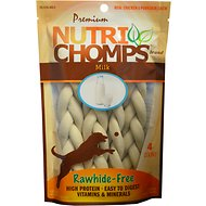 Premium Nutri Chomps Milk Flavor Braid Dog Treats, 4 count, 6-in