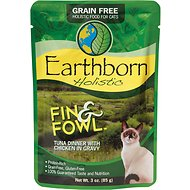 Earthborn Holistic Fin & Fowl Tuna Dinner with Chicken in Gravy Grain-Free Cat Food Pouches, 3-oz pouch, case of 24