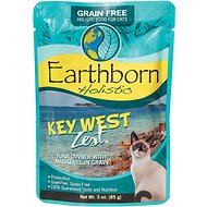 Earthborn Holistic Key West Zest Tuna Dinner with Mackerel in Gravy Grain-Free Cat Food Pouches, 3-oz pouch, case of 24