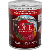 Purina ONE SmartBlend True Instinct Tender Cuts in Gravy with Real Beef & Wild-Caught Salmon Canned Dog Food, 13-oz, case of 12