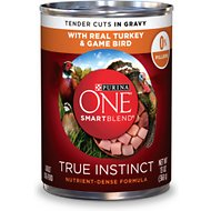Purina ONE SmartBlend True Instinct Tender Cuts in Gravy with Real Turkey & Game Bird Canned Dog Food, 13-oz, case of 12