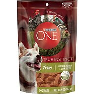 Purina ONE True Instinct Trios Chicken, Turkey & Duck Recipe Dog Treats, 5-oz pouch