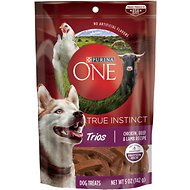 Purina ONE True Instinct Trios Chicken, Beef & Lamb Recipe Dog Treats, 5-oz pouch