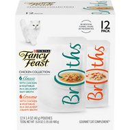 Fancy Feast Chicken Collection Broths Variety Pack Supplemental Cat Food Pouches, 1.4-oz, case of 12