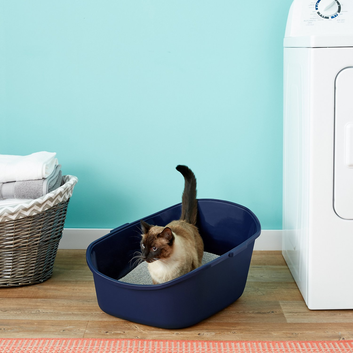 Frisco High Back Cat Litter Box Navy Extra Large 23in Chewycom