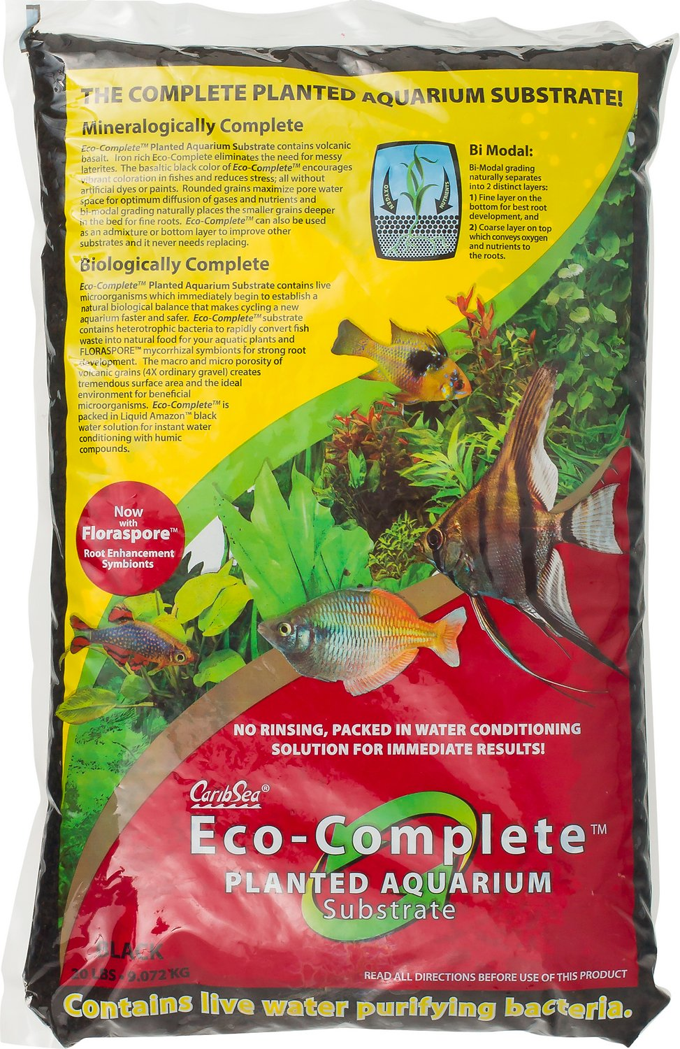 caribsea eco complete planted aquarium substrate black 20 lb bag