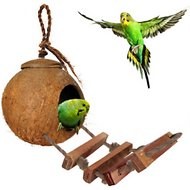 SunGrow Coconut Shell Ladder Hut Bird House