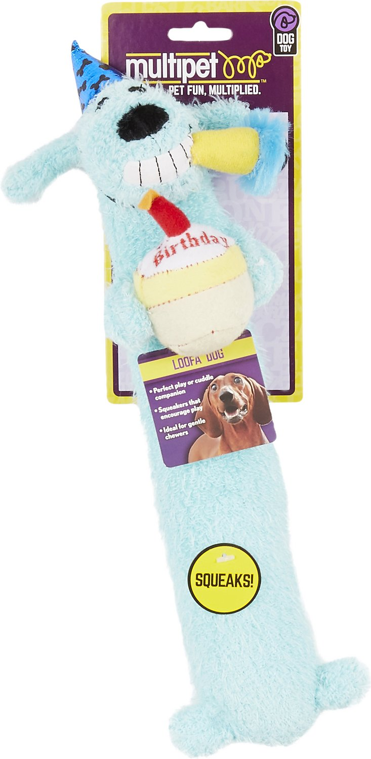 Multipet Loofa Birthday Dog Toy Color Varies 12 In
