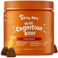Zesty Paws Omega-3 Krill Oil Bacon Flavor Bites Dog Supplement, 90 count