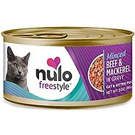 Nulo Freestyle Minced Beef & Mackerel in Gravy Grain-Free Canned Cat Food, 3-oz, case of 24