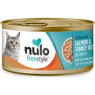 Nulo Freestyle Minced Salmon & Turkey in Gravy Grain-Free Canned Cat & Kitten Food, 3 oz-, case of 24